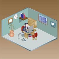 isometrisk arbetsstationillustration vektor