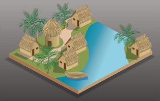 isometrisk by vid floden vektor