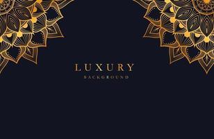 Luxus-Hintergrund mit Gold islamischer Arabesque-Mandala-Verzierung auf dunkler Oberfläche vektor