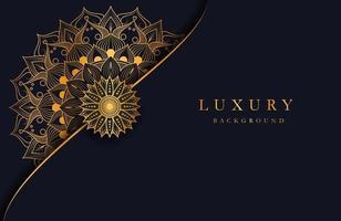 Luxushintergrund mit Gold islamischem Mandala Ornament auf dunkler Oberfläche vektor