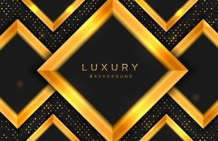lyxig elegant bakgrund med guldform och linjekomposition på prickar halvtonmönster. elegant svart och guld täcka mall vektor