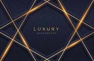 Geometrisches Luxusgoldmetall 3d auf dunklem Hintergrund. Grafikdesignelement für Einladung, Abdeckung, Hintergrund. elegante Dekoration vektor