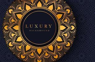 eleganter Luxushintergrund mit Goldmandala-Verzierungsverzierung lokalisiert auf Schwarz. abstrakter realistischer Neomorphismushintergrund. elegante Vorlage vektor