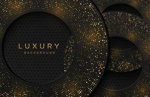 Luxus eleganter Hintergrund mit glänzendem Goldpunktmuster lokalisiert auf Schwarz. abstrakter realistischer Neomorphismushintergrund. elegante Vorlage vektor