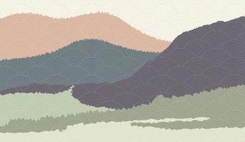 landskap bakgrund med berg landskap dekorerad med japanska vågmönster. vektorillustration av resor och äventyrstema med abstrakt naturlandskap vektor