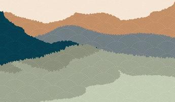 Landschaftshintergrund mit Gebirgslandschaft verziert mit japanischem Wellenmuster. Vektorillustration des Reise- und Abenteuerthemas mit abstrakter Naturlandschaft vektor