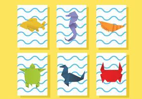Origami Marine Tiere Vektor Pack