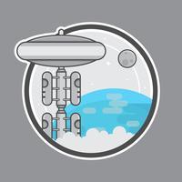 Raum-Aufzug-Logo-Illustration mit Erde, Planeten und Stern.