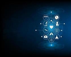 Gesundheitsikone und Medizintechnik-Innovationskonzept auf blauem Hintergrund dargestellt vektor