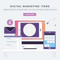 vektor digitala marknadsföring objekt