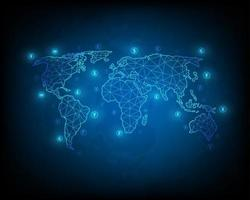 internationell illustration av penningöverföring och utbyte av affärsnätverk vektor