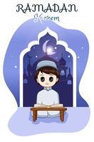 kleiner muslimischer Junge, der ein Buch an der Karikaturillustration des Ramadan Kareem liest vektor