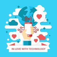 Förälskad Med Teknologi Vector Illustration