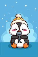 söt glad pingvin med fisk tecknad illustration vektor