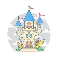 söt slottstecknad hus med pastellfärg vektorillustration