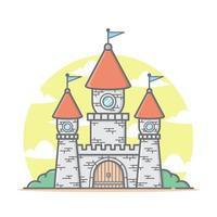 söt röd kungarikets slott tecknad hus med pastellfärg vektorillustration