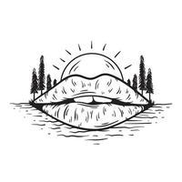 Mund mit Sonne und Bäume Vektor-Illustration vektor