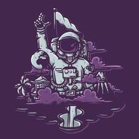 Astronaut mit Berg, Wolken, Wasserfall, Erde, Flagge und Baumvektorillustration vektor