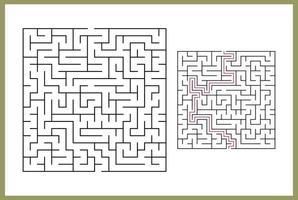 labyrint för barn. abstrakt fyrkantig labyrint. vektor