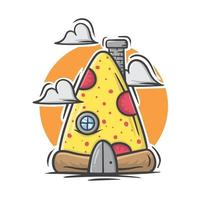 niedliches Pizza-Cartoon-Haus mit Pastellfarbvektorillustration vektor