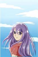 schönes und süßes Mädchen mit lila langen Haaren im Sommer vektor