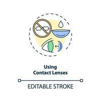 med hjälp av kontaktlinser konceptikon vektor