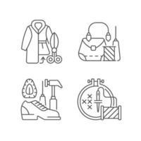 Kleidung reparieren lineare Symbole gesetzt vektor