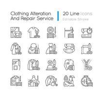 Kleidungsänderung und Reparaturdienste lineare Symbole gesetzt vektor
