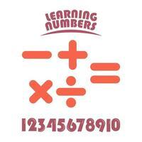 Lernzahlen eingestellt für Kinder Vektor Vorlage Design Illustration