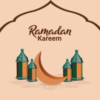 flaches Designkonzept von Ramadan Kareem oder Eid Mubarak vektor