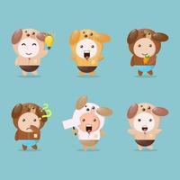 maskot uppsättning söta hunddesigner vektor
