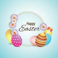 lycklig påskdag gratulationskort med påsk färgglada ägg