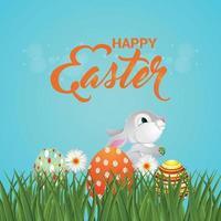 lycklig påskdag gratulationskort med påskägg och kanin