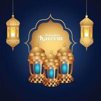 ramadan kareem islamisk festival gratulationskort vektor