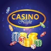 kasino natt bakgrund med element vektor