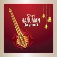Shri Hanuman Jayanti Feier Hintergrund mit goldener Waffe von Hanuman