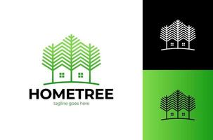 grüne Holzbewohnervektorlogoschablone. Entwurfsvorlage von zwei Bäumen enthalten mit einem Haus, das aus einem einfachen gemacht. Es ist gut für die Symbolisierung einer Immobilie oder eines Holzwohnungsgeschäfts. vektor