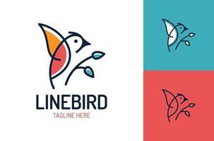 Vogel-Logo-Vektorentwurfsschablone im isolierten weißen Hintergrund. Vogelblatt Logo Vektor Symbol Vorlage Linie Kunst Umriss