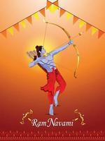 glad ram navami firande affisch med kreativ illustration av lord rama vektor