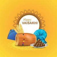 realistiskt glad vaisakhi gratulationskort med dhol och drake vektor