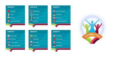 Europäische Fußball 2020 Turnier Endphase Gruppen Vektor Lager Illustration. Europäisches Fußballturnier 2020 mit Hintergrund. Vektor-Länderflaggen