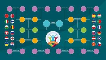 Spielplan, Vorlage für Web, Druck, Fußball-Ergebnistabelle, Flaggen der europäischen Länder, die an der Endrunde der europäischen Fußballmeisterschaft 2020 teilnehmen. Vektorillustration vektor