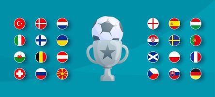 Flagge des europäischen Fußballturniers 2020 gesetzt. Vektor-Landesflagge für Fußballmeisterschaft gesetzt. vektor