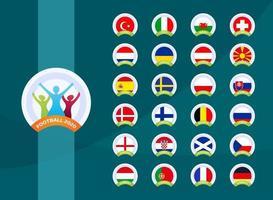 fotboll 2020 nationella flagga vektor