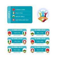 fotboll 2020 grupp a-matcher vektor