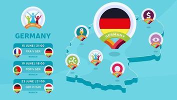 Deutschland isometrische Karte Fußball 2020 vektor