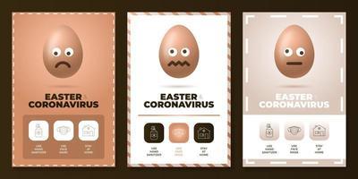Ostern während Coronavirus-Pandemie-Plakatsatz vektor