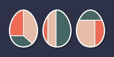 uppsättning av minimalistiska geometriska påskägg med geometriska formelement. moderna samtida kreativa trendiga abstrakta mallar vektorillustration. vektor