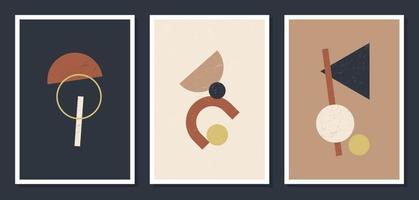 minimalistiska geometriska vektorkonst väggaffischer. uppsättning minimala 20-tal geometriska abstrakt samtida affischer vektor mall boho primitiva former element perfekt för väggdekoration modern hipster stil