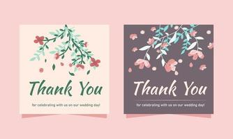 tack bröllopskortsmall med blommor vektor